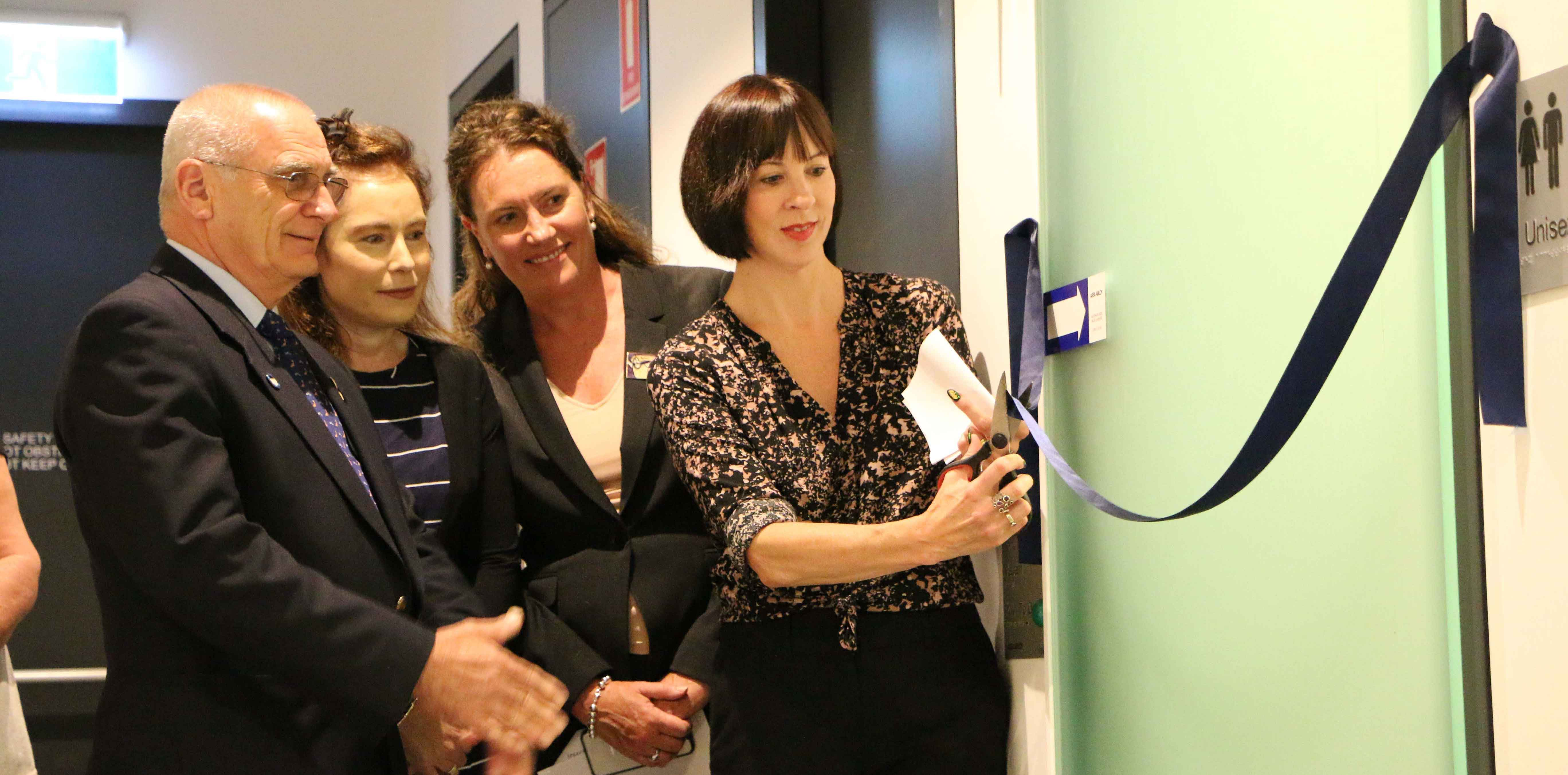 Deputy Mayor Cr Chris Van Der Kley, Aged & Disability Services Development Officer Prue Hardgrove, Member for Blue Mountains Trish Doyle and Cr Shae Foenander opening the facility.