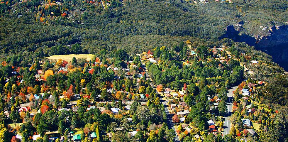 Aerial view of Blue Mountains housing