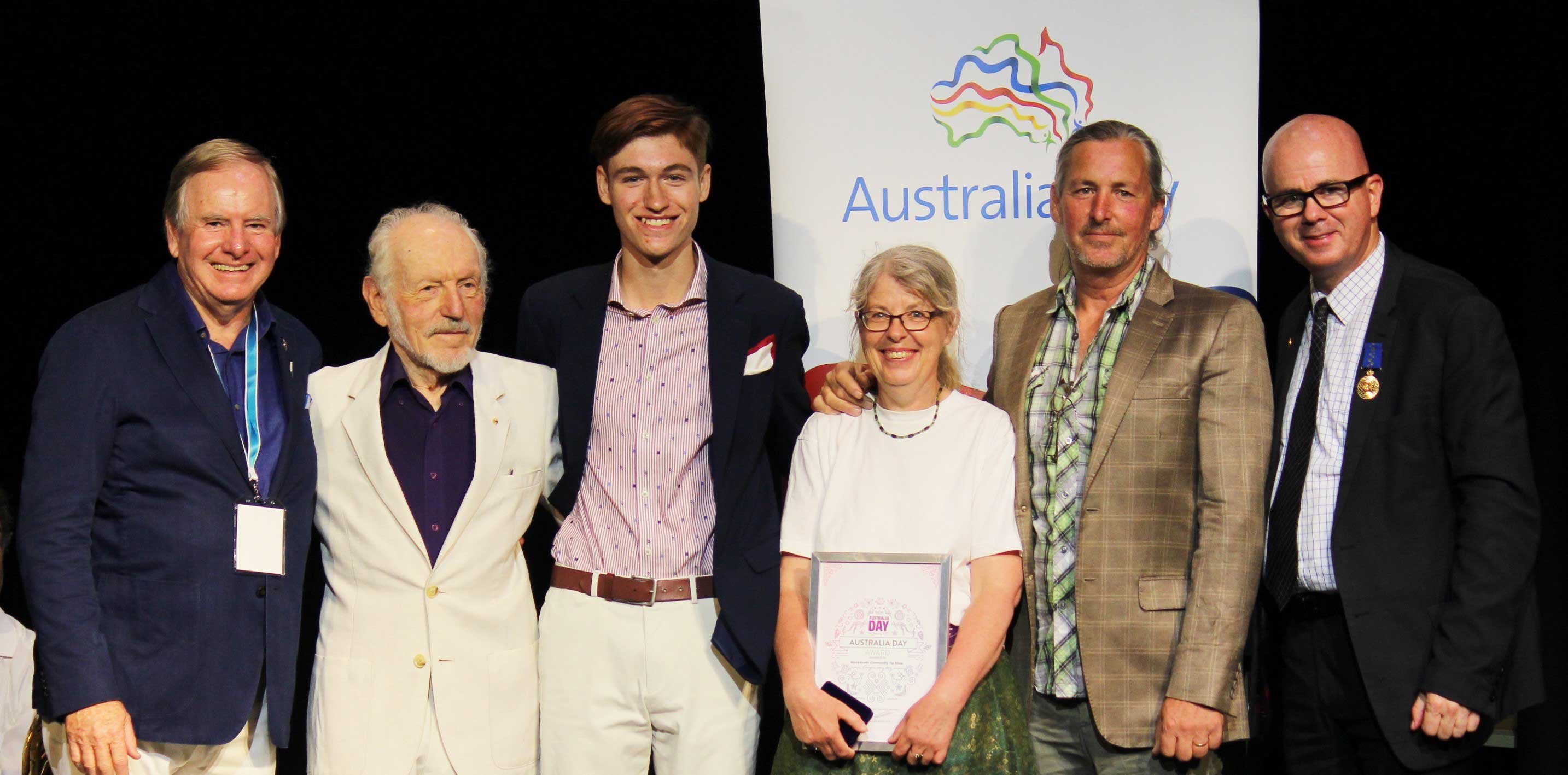 Blue Mountains City Council recognised three local citizens for their outstanding contribution to the community(left to right) Blue Mountains Australia Day Ambassador, Graham Ross, 2019 Citizen of the Year – George Winston, 2019 Young Citizen of the Year – Adisen Wright,  2019 Community Achievement of the Year – June and David O'Brien from Blackheath Community Op Shop, and Mayor, Cr Mark Greenhill.