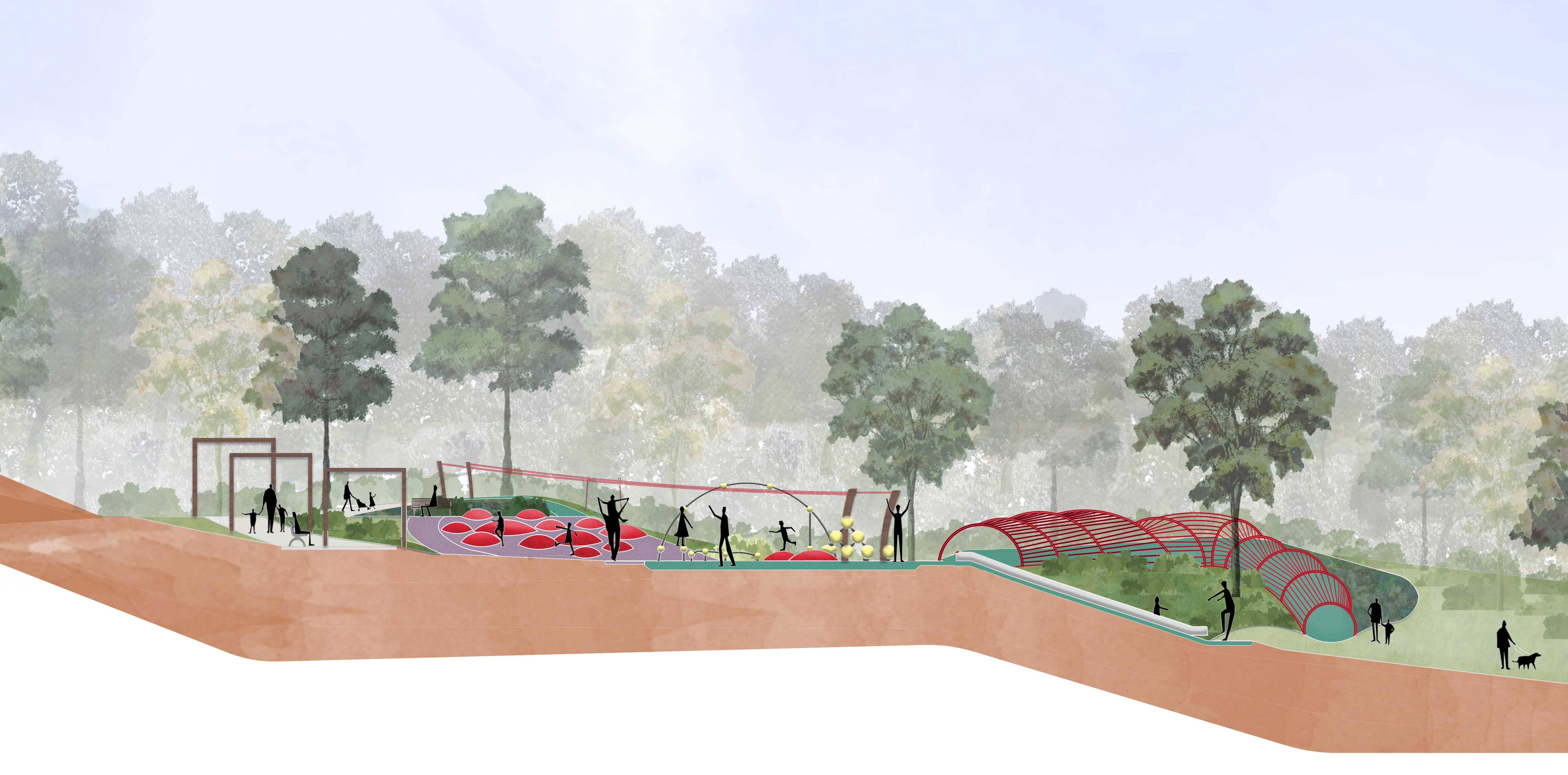 An adventure youth space including tandem flying fox and parkour play element will be built at Buttenshaw Park, Springwood