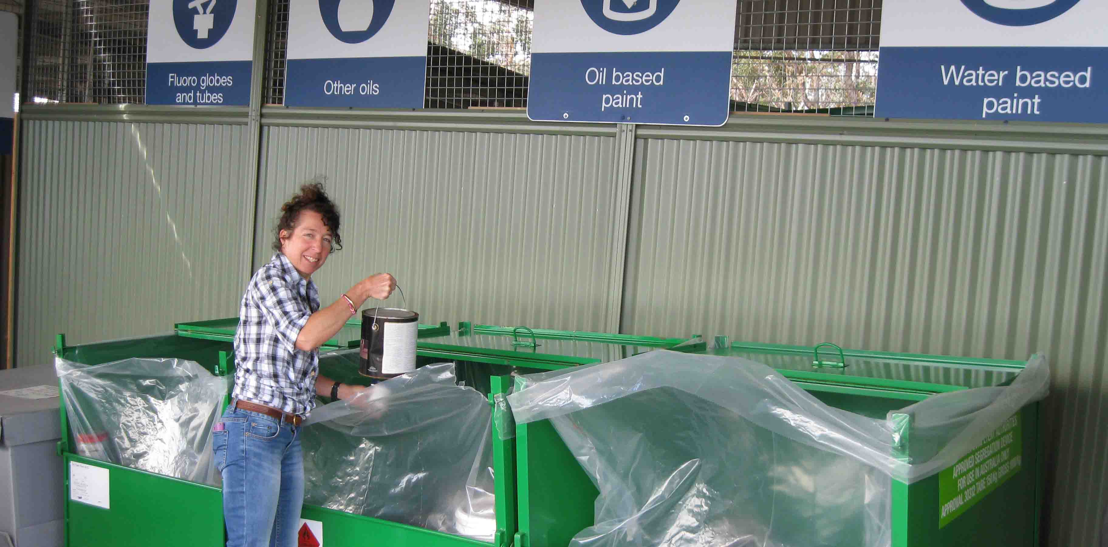 Waste Resource Management Compliance Officer Jane Manners at the Community Recycling Centre at Katoomba Waste Management Facility.