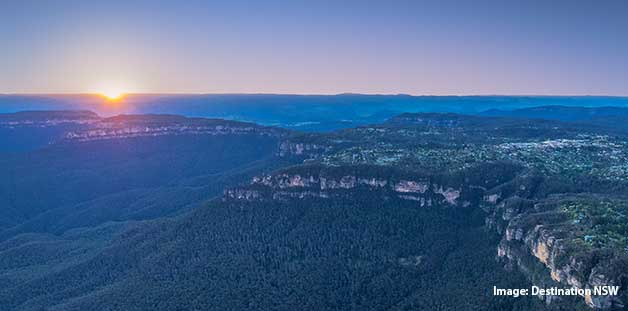 Sunrise over Katoomba and World Heritage listed Blue Mountains National Park