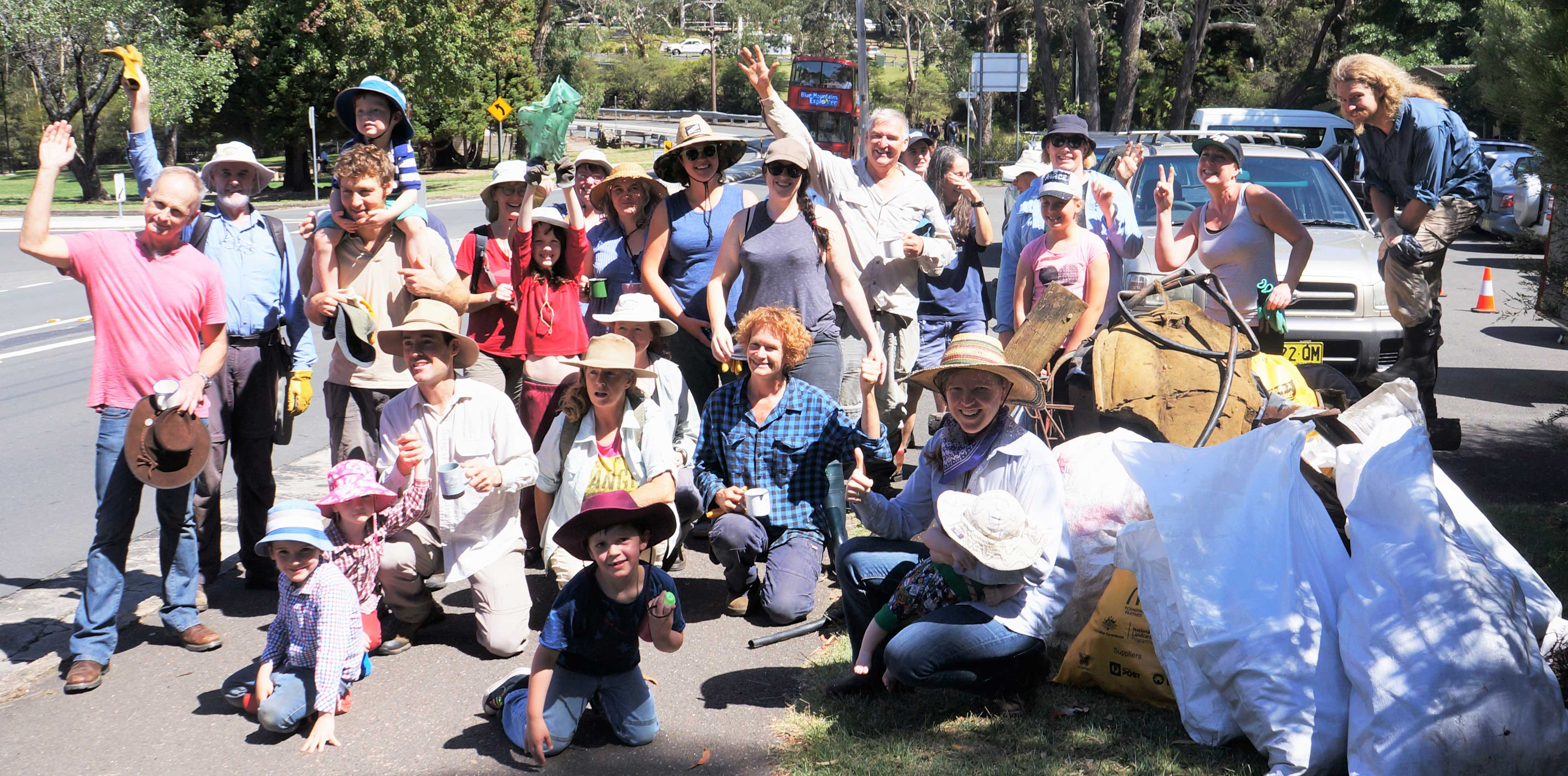 Garguree Swampcare group at Maple Grove, Katoomba on Clean Up Australia Day 2018.