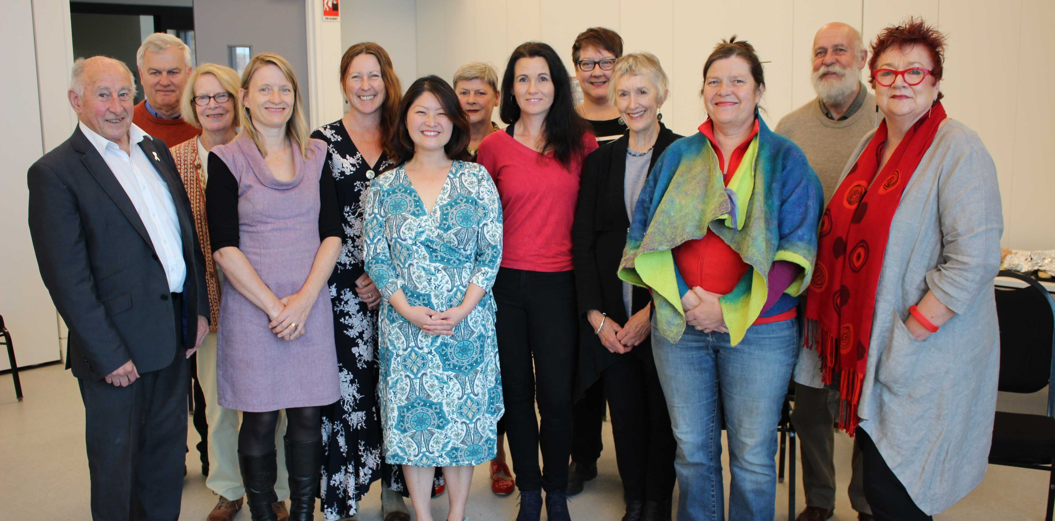Councillor and Chair Don McGregor with Advisory Committee members and grant partners Alex Gooding;  Jenny Day, Veechi Stuart, Camille Walsh, Grace Kim, Faye Wilson Jo Clancy, Tracy Miles, Margaret Davis, Saskia Everingham, Peter Shoemark and Julie Ankers.
