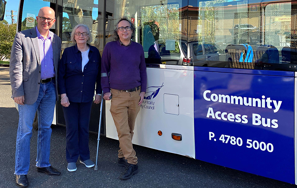 Mayor Mark Greenhill with Valerie Newans and Council's Access Advisory Committee member Korey Gunnis and the new accessible Community Access Bus.