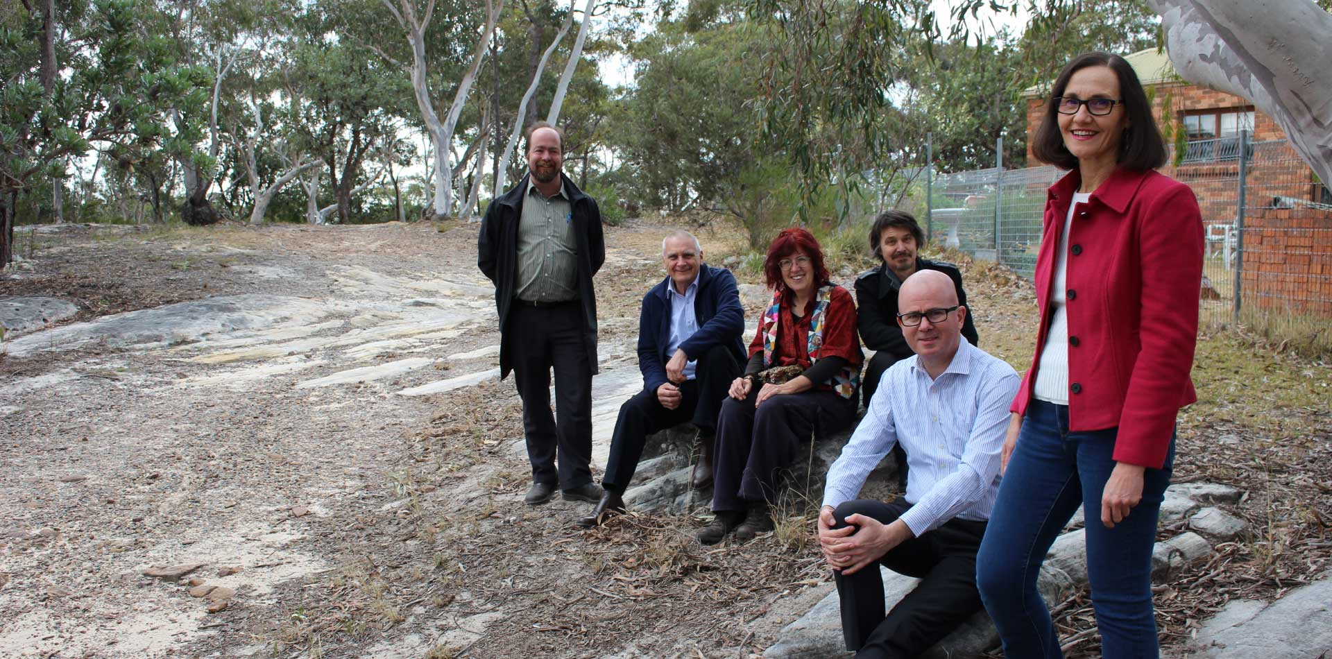 Cr Romola Hollywood; Mayor, Cr Mark Greenhill; Linden Resident's Association reps Lewis Morley & Marilyn Pride; Deputy Mayor, Cr Chris Van der Kley  and Cr Brent Hoare welcome the development of a conservation management strategy for the historic remnant of Cox's Road