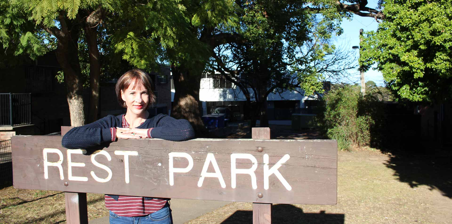 Ward 2 Councillor, Shae Foenander at Rest Park Springwood, is keen for parks and the public domain of Springwood town centre to reflect both the town's history and its future
