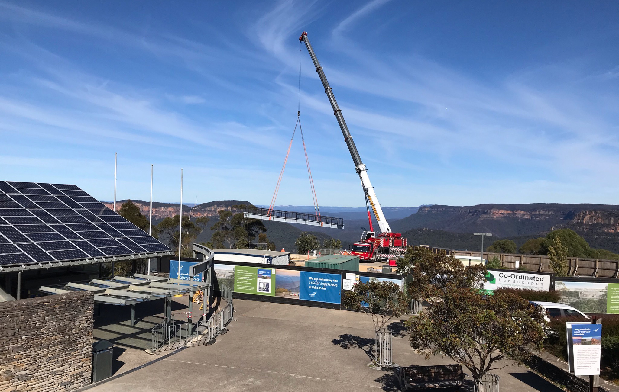 A 130-tonne crane placed part of the new walkway into place at Echo Point recently.