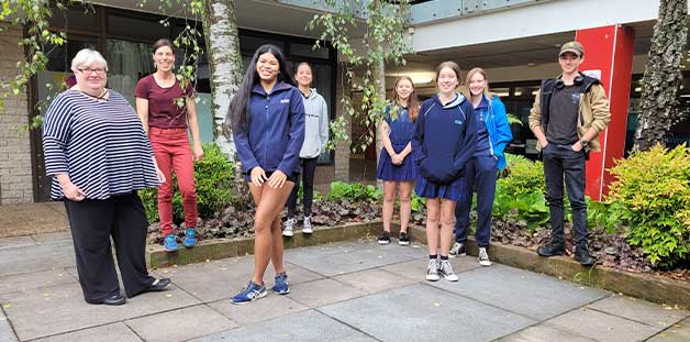 Council's Strategic Land Use Planning Program Leader Michelle Maher and Katoomba High School Teacher Ruby Ladd, with students Salasine Rupsuay, Tsepal Gyaltsen, Amy Goulding, Kayla Sayers, Hannah Mein and Jed Nicholson.