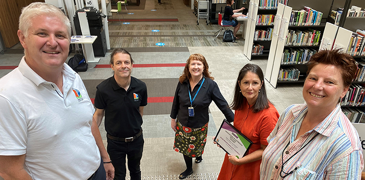 Photo: Shane Clancy and Damien Farrington - from Award sponsor Library AV & Large Print - and Community, Library & Customer Services Manager Vicki Edmund, Reference & Marketing Librarian Theresa Lock and Library Assistant Susan Ambler.