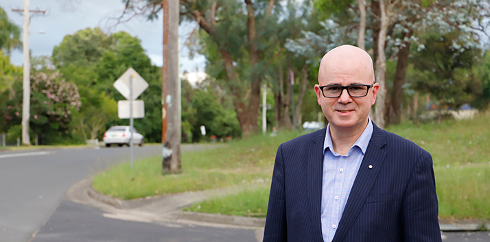 Mayor Mark Greenhill in Blaxland near where the Tesla charging stations would be installed.