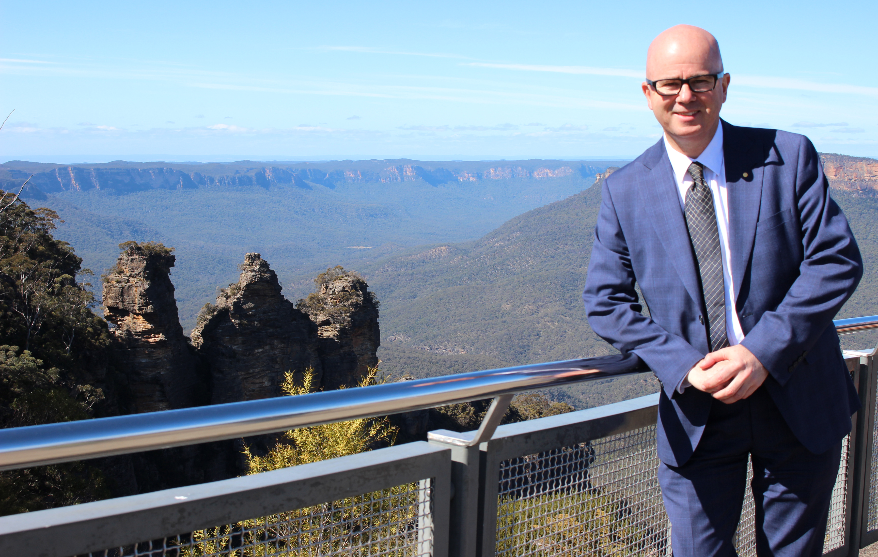 Mayor Mark Greenhill at Echo Point.  Upgrades will enhance the experience of this special place, overlooking The Three Sisters.