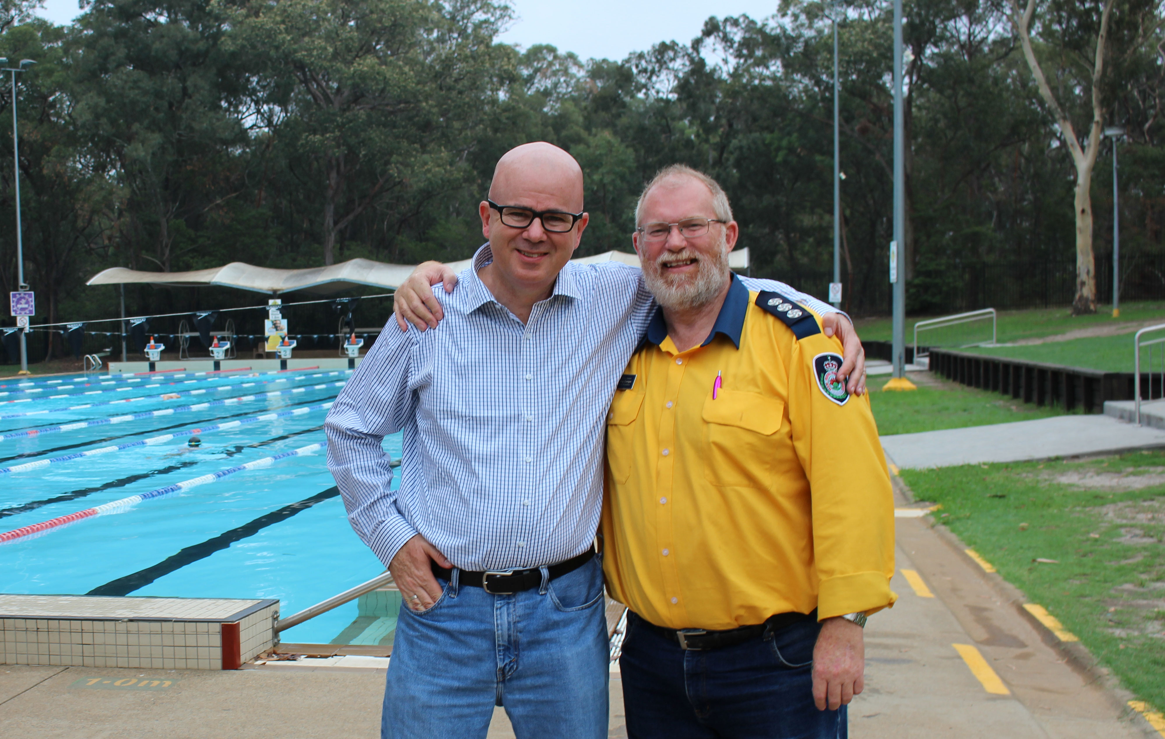 Mayor Mark Greenhill with NSW Rural Fire Service group captain Greg Corrigan