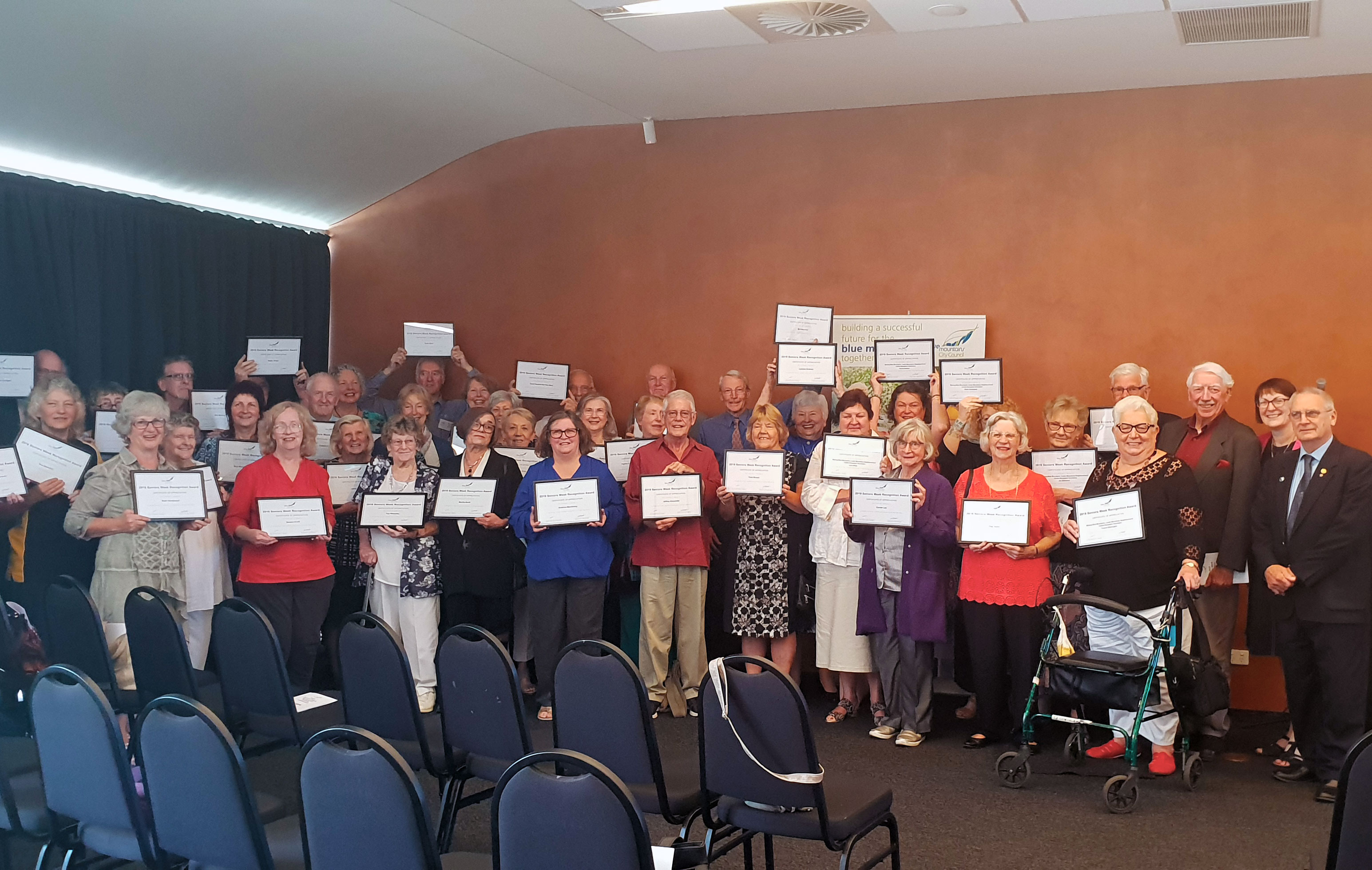 Recipients of the 2019 Seniors Week Recognition Awards, Member for Macquarie, Susan Templeman MP and Deputy Mayor Cr Chris Van der Kley.