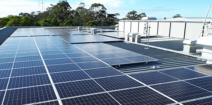 Solar panels installed on the roof of the Blue Mountains Theatre and Community Hub in Springwood