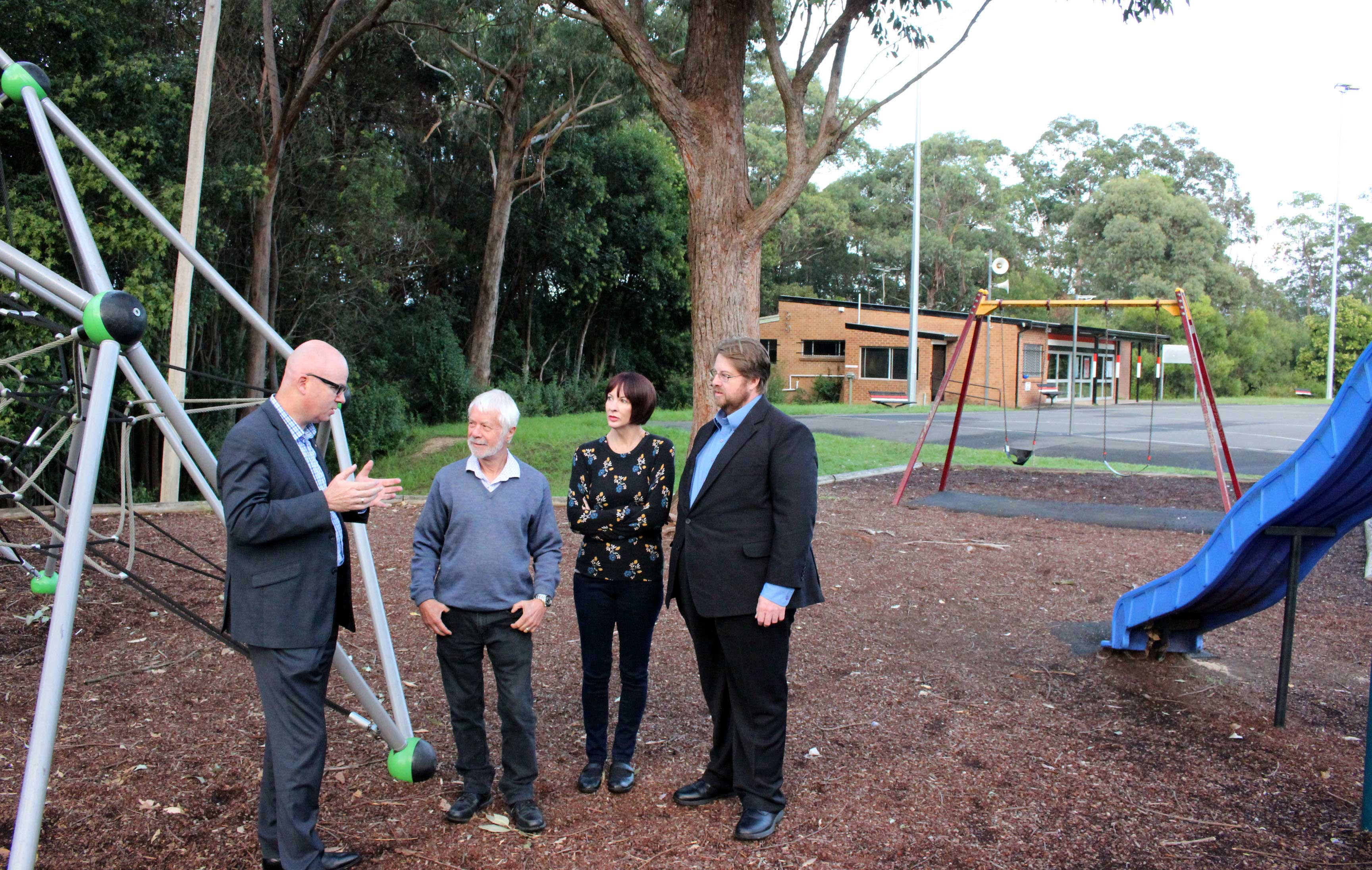 Mayor, Cr Mark Greenhill with Ward 3 Councillors, Mick Fell, Shae Foenander and Daniel Myles at Summerhayes Park playground, Winmalee, which will become more inclusive to meet the needs of children and carers.