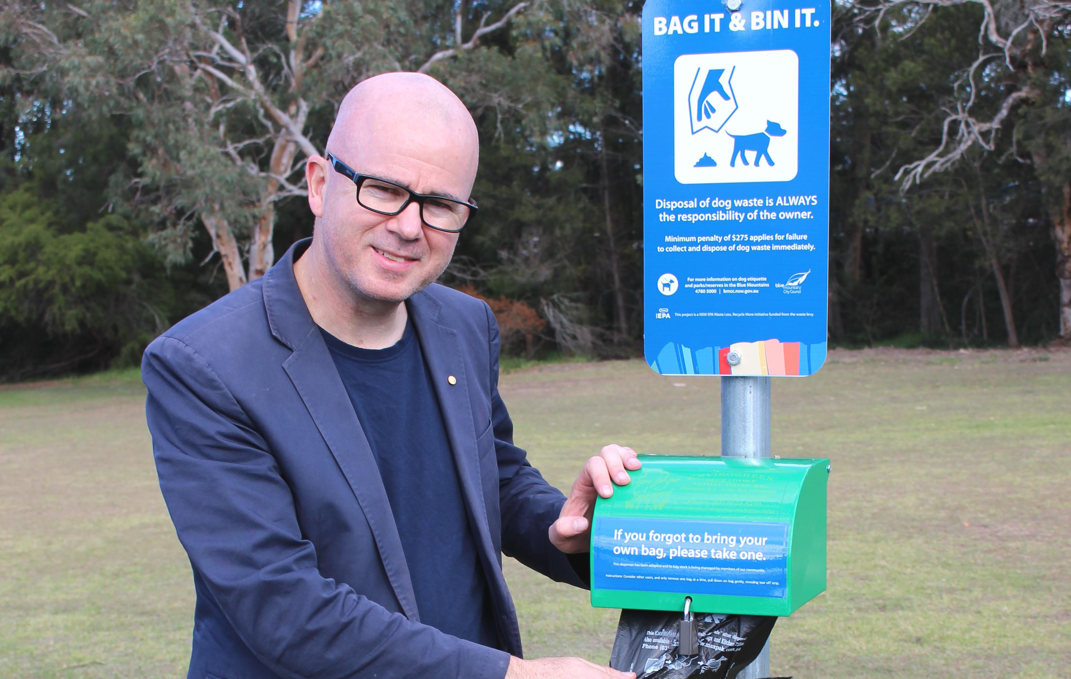 Mayor, Cr Mark Greenhill supports the community/Council partnership to install dog waste bag dispensers in local parks, sportsgrounds and off leash areas
