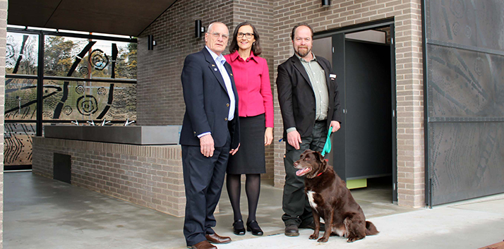 Ward 2 Councillors, Chris Van der Kley, Romola Hollywood and Brent Hoare (with dog Thea) inspect the new loo at Wentworth Falls Lake.