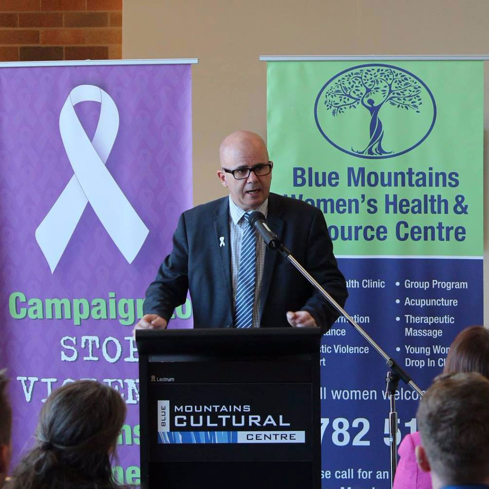 BMCC Mayor Cr Mark Greenhill at the White Ribbon Breakfast event in Katoomba